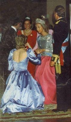 Sofia of Spain wearing the Fleur De Lys with daughter Cristina wearing the Prussian Diamond Tiara.