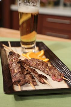 Michael Symon's Steak On A Stick - I will have to make these, since the girls LOVE the steak on a stick at the Renaissance Festival