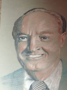 Portrait of Bob Hope, Colored Pencil, Early 1990's (HIs nose is actually ski-sloped shaped, not flat. Oh well.)