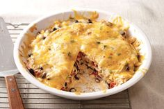 Try a Santa Fe Chicken Casserole, layered with bold flavor. Shredded chicken, black beans, tortillas & cheese are great in our Santa Fe Chicken Casserole!