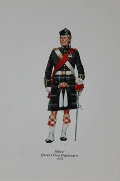 Officer from the Queen's Own Highlanders 1978 Postcard from the Highlander Museum in Scotland. Highlands Warrior, British Uniforms, Scottish Fashion, Highlanders, Military Uniforms, Knights Templar, Cold Steel, Kilts, British Army