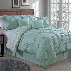 House of Hampton Germain 7 Piece Reversible Comforter Set Size: Queen, Color: Mint