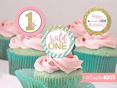 Wild One - girls first birthday party - printable cupcake toppers or favor tags - diy - gold glitter, pink, teal blue, arrows, flowers, boho birthday tribal party theme - girl first birthday ideas - cupcake picks - etsy.com - Camalee Kate Studio