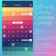 CSS-Only Colorful Calendar Concept Coding Code CSS3 Snippets Web Design Resource Animation Web Development HTML5 Colorful HTML Calendar CSS Transition SCSS