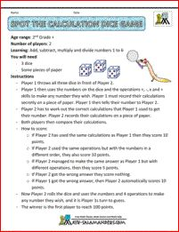 Spot the Calculation dice game -  a dice math game for 2nd grade and up to help you practice adding, subtracting, multiplying and dividing with numbers from 1 to 6.