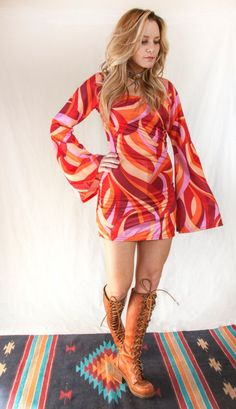 Psychedelic Bell Sleeved Mod Mini Dress | Womens Small S XS Long Sleeved Short Gogo Dress | Orange Pink Red Bright 1970s Retro Disco Costume