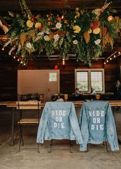 Real Wedding: Kelly + Steven :: Colorful Modern + Retro feel Wedding|a&bé bridal shop Denim Wedding, Wedding Jacket, Boho Wedding, Floral Wedding, Fall Wedding, Whimsical Wedding, Woodland Wedding, Wedding Reception, Wedding Dress
