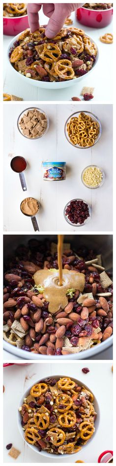 Addicting Honey Almond Snack Mix – Making Thyme for Health - Top-Trends Sarah Wiener, Chex Mix, Whole Food Recipes, Snack Recipes, Dessert Recipes, Desserts, Yummy Treats, Yummy Food, Honey Almonds