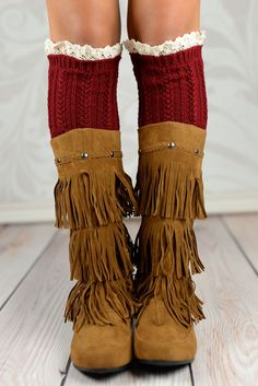 Maroon Braided Boot Cuffs