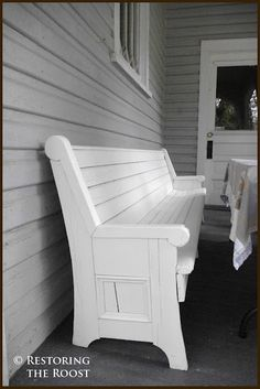 white washed antique church pew for porch seating