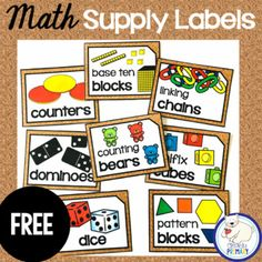 preschool classroom set up Keep your classroom organized and your math supplies accessible and easy to find with this set of labels. Included are 8 illustrated labels for your Classroom Organization Labels, Classroom Library Labels, Organizing Labels, Classroom Supplies, Classroom Decor, Classroom Labels Free, Future Classroom, Organization Ideas, Preschool Classroom