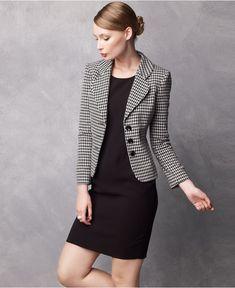 black sheath dress w/ herringbone blazer | Skirt the Ceiling | skirttheceiling.com