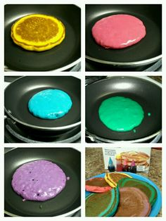 Colored pancakes! Helps with learning colors & kids love it!---- My Note: Love this for a Saturday Morning activity, maybe we can dye our milk to match our pancakes :-)