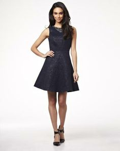 Fit and flare dress with embroidered neckline RW&CO. Spring 2014 Collection
