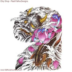 Demon Tattoo Flash Design 5 for you on Etsy. Hannya Tattoo, Mask Tattoo, Japanese Demon Tattoo, Koi Fish Tattoo, Coloring Book Art, Asian Tattoos, Japan Tattoo, Oriental Tattoo, Colour Tattoo