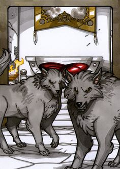 """""""Geri and Freki / Odin's wolves"""" copyright Norhalla, Inc. illustrated by Nicolas Giacondino for the Legends series Norse young adult books."""