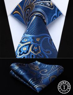 Cheap yellow paisley, Buy Quality mens ties directly from China square tie Suppliers: Blue Yellow Paisley Silk Woven Men Tie Necktie Handkerchief Set Party Wedding Classic Pocket Square Tie Pocket Square Styles, Tie And Pocket Square, Pocket Squares, Moda Men, Paisley Tie, Suit Accessories, Tie Styles, Dress Styles, Wedding Ties