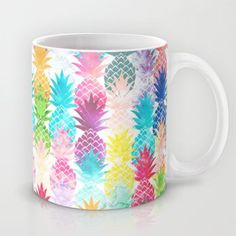 Hawaiian Pineapple Pattern Tropical Watercolor Mug by Girly Trend