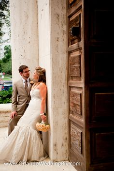 Beautiful wedding shoot in front of Knowles Chapel. Photo credit to orlandoweddingpix.com.