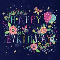 Happy Birthday Greetings Friends, Happy Birthday Art, Happy Birthday Wishes Images, Happy Birthday Wishes Cards, Happy Birthday Pictures, Birthday Blessings, Birthday Wishes Quotes, Birthday Fun, Creations