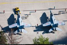 Swiss Air Force: birds eye view of F-18 Hornets in front of their underground cavern (1000pix)