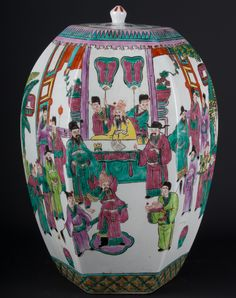 Description A Chinese hexagonal barrel-shaped jar and circular flush-fitting cover Decorated in 19th century Cantonese export style with a commemorative procession of many figures and a horse, and with a group of courtly figures assembling in a pavilion, the base with a spurious seal mark.  Date Mid 20th century  www.collectorstrade.de