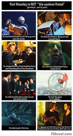 Ron is amazing and is often taken for granted. He is truly 10x greater friend in the books than the movies.