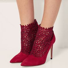 Shoespie Red Cut Out Stiletto Heel Ankle Boots