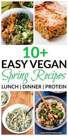 Easy vegan spring recipes for a whole food plant based diet. High protein dinner recipes that can also be used for lunch. These vegan recipes make great weight loss meals too and are budget friendly. #veganrecipe #springrecipe #healthyrecipe via @2sharemyjoy