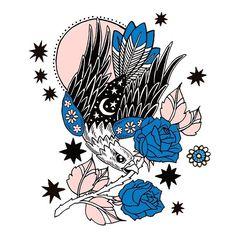 PONY GOLD / DRAWING / ILLUSTRATION / HAWK / EAGLE / TATTOO / STARS / ROSES