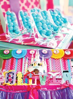 Colorful Disney Princess Party Ideas for a birthday: castle cake, ariel's chocolate sea shells, jasmine jewels, royal princess gowns, bubble favors & more! Disney Princess Birthday Party, Princess Theme Party, Cinderella Party, Princess Gowns, Royal Princess, Cinderella Princess, Tangled Party, Princess Sophia, Tinkerbell Party