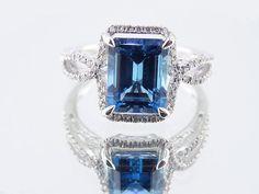 14K White Gold Diamond and Natural Blue Topaz Ring Wedding