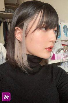 Two Color Hair, Hair Color Streaks, Hair Dye Colors, Hair Highlights, Peekaboo Hair Colors, Hidden Hair Color, Korea Hair Color, Hair Color Ideas For Dark Hair, Funky Hair Colors