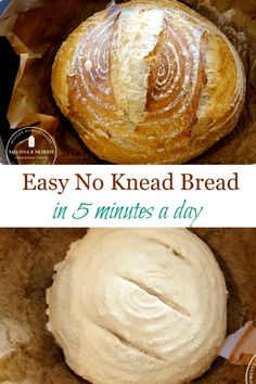 How to make an artisan style loaf of no knead bread in just five minutes a day. This recipe is quick, easy, and delicious. The basic ingredients leaves this recipe open for many variations for you to Artisan Bread Recipes, Baking Recipes, Sourdough Recipes, Baking Pans, Bread Baking, No Need Bread, Artesian Bread, Pain Artisanal, Knead Bread Recipe