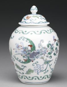 A RARE AND UNUSUAL DOUCAI 'PHOENIX' JAR AND A COVER, YONGZHENG MARK AND PERIOD Hue, Chinese Ceramics, Ginger Jars, Fine Porcelain, Chinese Art, White Ceramics, Glass Art, Pottery, Prints