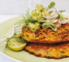 Annabel Langbein Gluten-Free Corn Fritters Recipe - made with half buckwheat flour/half rice flour and added kale into puree Gluten Free Bakery, Gluten Free Recipes, New Recipes, Dinner Recipes, Cooking Recipes, Easy Recipes, Organic Recipes, Vegetable Dishes, Vegetable Recipes