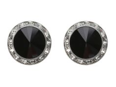 Black Stud Earrings with Sparkle Trim.