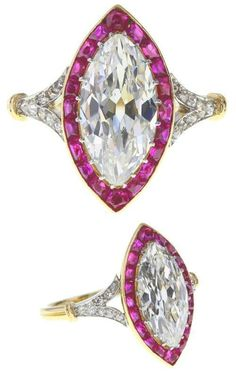 A Belle Epoque platinum and 18ct gold diamond and ruby cluster ring. Circa 1893. Of Royal provenance.