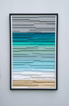 Gran pintura  arte de madera de la pared  Ocean Beach Art