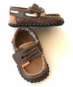 Pediped baby boys 0 6 m brown canvas loafers velcro shoes leather soles #FOLLOWITFINDIT