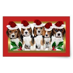 Christmas Beagle puppies rectangle stickers - christmas stickers xmas eve custom holiday merry christmas