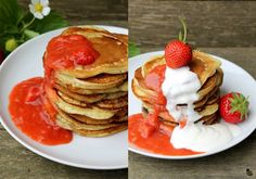 Joghurt-Pancakes mit Erdbeer-Rhabarber-Kompott