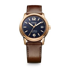 Fossil Swiss Made Automatic Leather Watch - Brown FSW1003 | FOSSIL®----absolutely beautiful. I want.