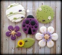 Ladybug Flower Summer Decorated Sugar Cookies by CookieBarn