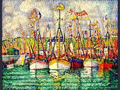pointillisme , (neo-impressionisme) Bateaux