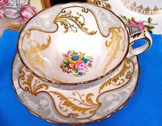 HAMMERSLEY TEA CUP AND SAUCER GOLD GILT FLORAL GRAY & GOLD SCROLLS TEACUP