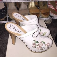Dior Clogs Dior high Heel Clogs. Excellent condition. Made in Italy. Flower embroidered leather Dior Shoes Mules & Clogs