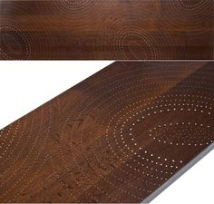 Sandback furniture out of New Hampshire has a new line of baked red oak tables embedded with various floral and geometric patterns created with up to 5,800 nails.