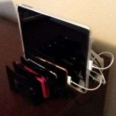 $3 bill sorter + a power strip = an organized family charging station.