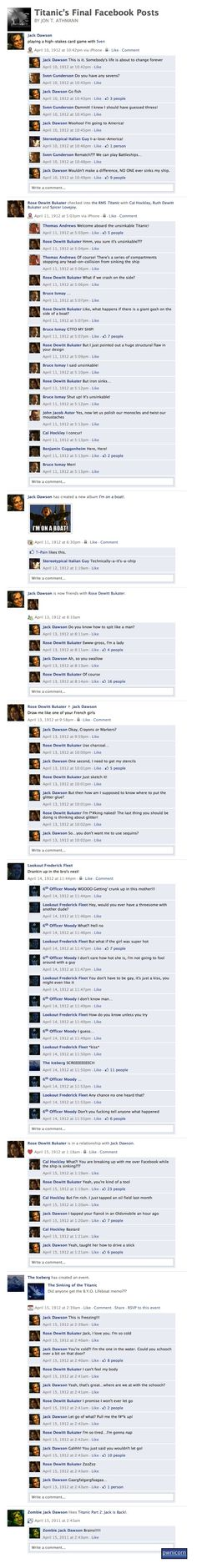 Titanic's Final Facebook Posts - this made me laugh more than a little bit. LOL